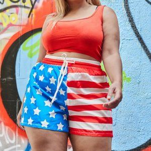 SHEIN Plus Drawstring Waist American Flag Shorts